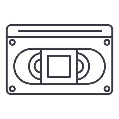 Video cassette line icon