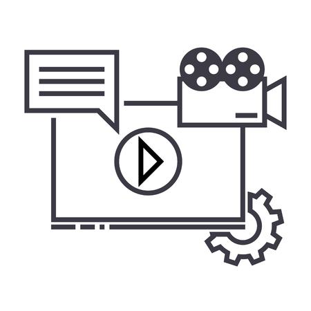 Video marketing line icon Illustration