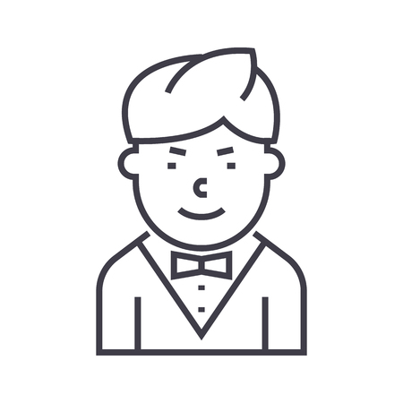 Waiter line icon Illustration