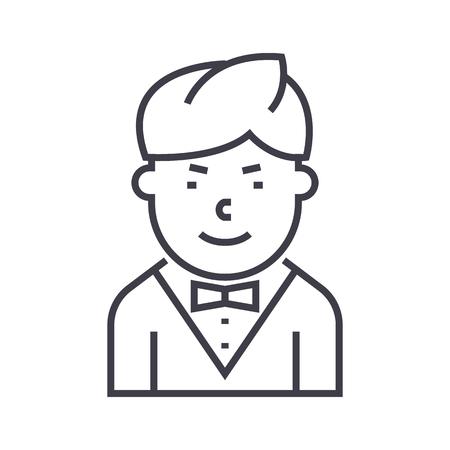 Waiter line icon Иллюстрация