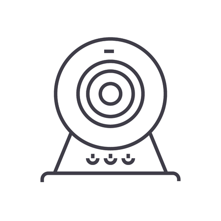 web cam,online camera vector line icon, sign, illustration on white background, editable strokes Stock Photo