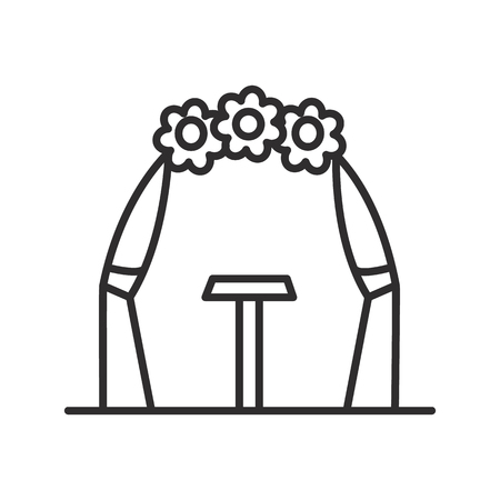 wedding arch vector line icon, sign, illustration on white background, editable strokes