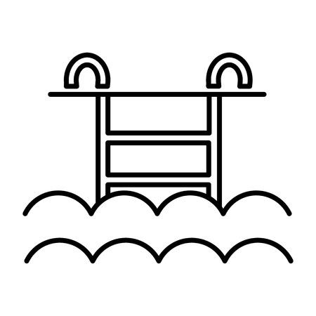 물 풀 벡터 줄 아이콘, 기호, 흰색 배경에 그림 편집 가능한 획 스톡 콘텐츠