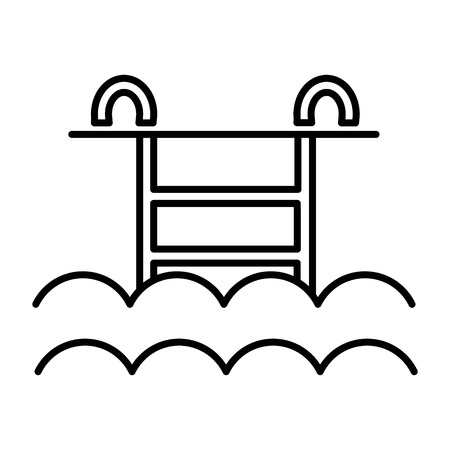water pool vector line icon, sign, illustration on white background, editable strokes Stock Photo