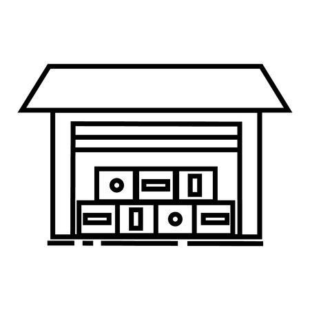 warehouse illustration vector line icon, sign, illustration on white background, editable strokes Stock Photo