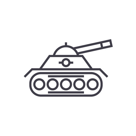 war tank vector line icon, sign, illustration on white background, editable strokes