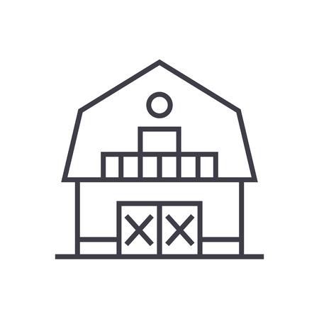 warehouse,farm,barn vector line icon, sign, illustration on white background, editable strokes