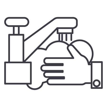 washing hands,wash crane vector line icon, sign, illustration on white background, editable strokes