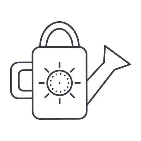 watering can vector line icon, sign, illustration on white background, editable strokes Stok Fotoğraf