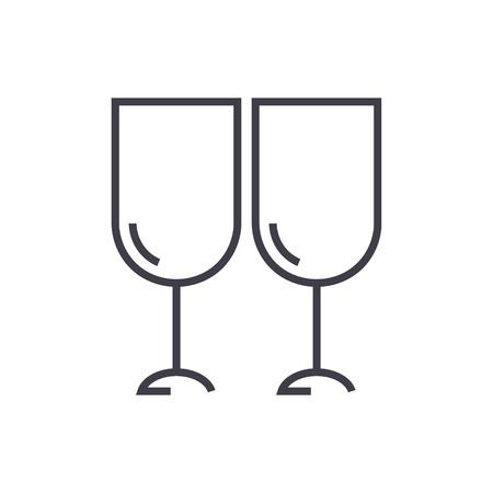 Wine glasses line icon