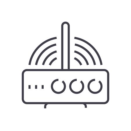 無線ルーターの線アイコン  イラスト・ベクター素材