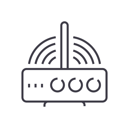 Wireless router line icon Stock Vector - 87221183