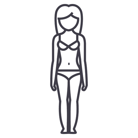 Woman body line icon Illustration