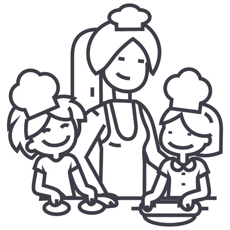 Woman cooking with kids line icon