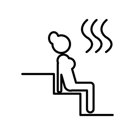 Woman in sauna line icon