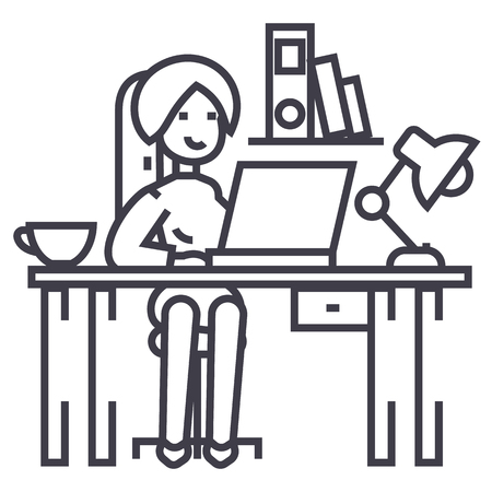 girl laptop: Woman working line icon