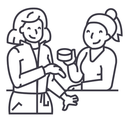 Women in cosmetics shop line icon Illustration