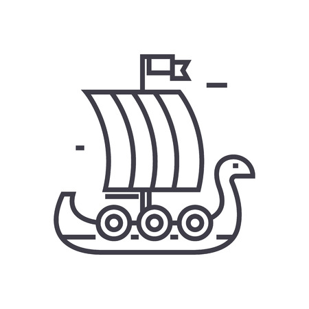 Wooden viking ship line icon Illustration