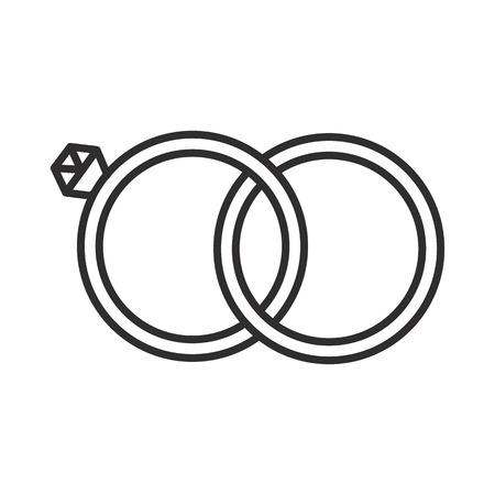 Wedding ring line icon Illustration