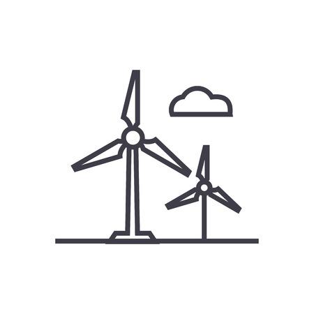 풍력 터빈 라인 아이콘