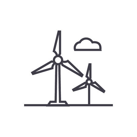 wind mills: Wind turbine line icon