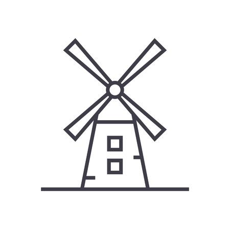 風車ライン アイコン  イラスト・ベクター素材