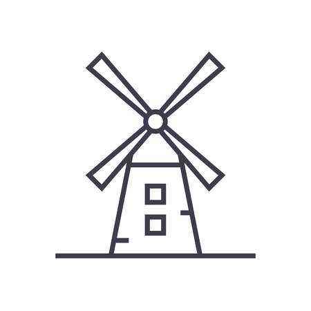 Windmolen lijn pictogram