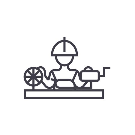 Worker industry line icon