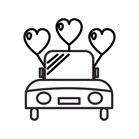 wedding car vector line icon, sign, illustration on white background, editable strokes