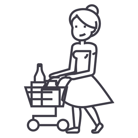 woman shopping in supermarket with cart vector line icon, sign, illustration on white background, editable strokes