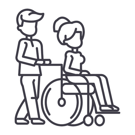 Young man with young woman in wheelchair line icon