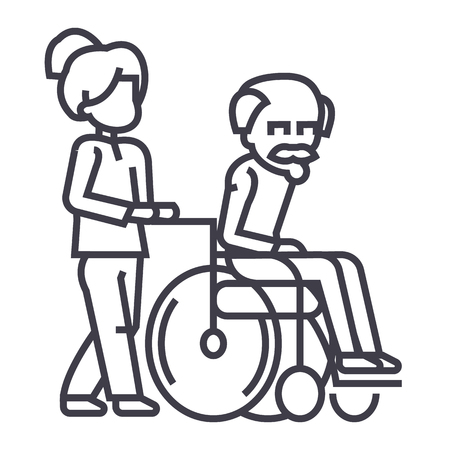 Young woman with elder man in wheelchair line icon