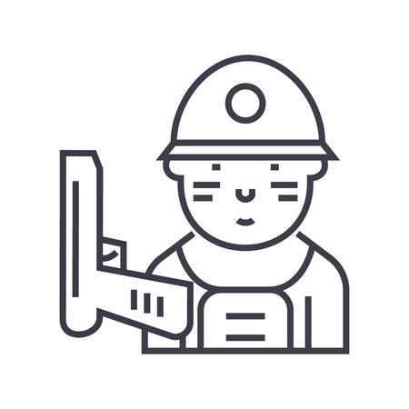 Soldier line icon Stock Vector - 87221279