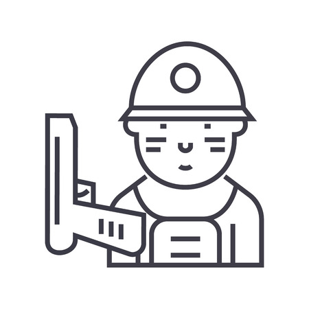 Soldier line icon Illustration