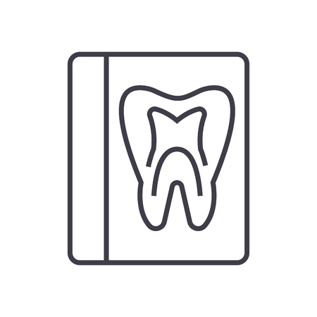 sickbed: tooth record,medical dentist report vector line icon, sign, illustration on white background, editable strokes Illustration