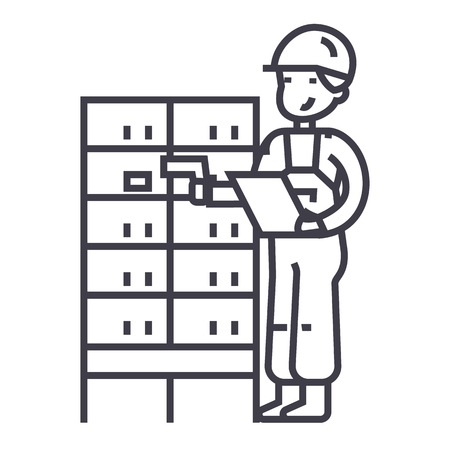 warehouse,delivery man checking barcode on post boxes vector line icon, sign, illustration on white background, editable strokes