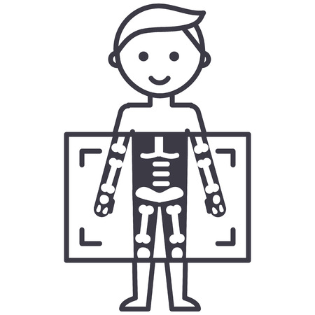 x-ray,medical diagnostics man  vector line icon, sign, illustration on white background, editable strokes Zdjęcie Seryjne