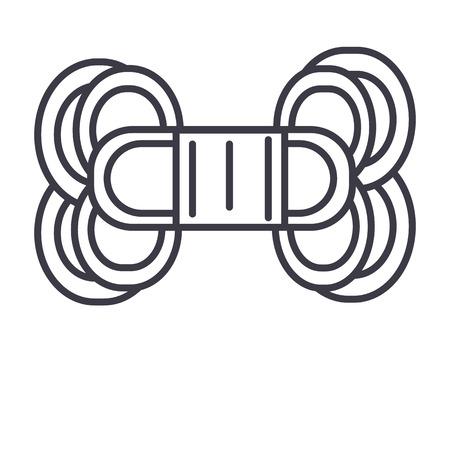원사 벡터 라인 아이콘, 기호, 흰색 배경에 그림 편집 가능한 획