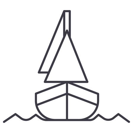 ヨット、フロント veiw ベクトル線アイコン、記号、白い背景に、編集可能なストロークの図