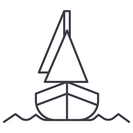 yacht, front veiw vector line icon, sign, illustration on white background, editable strokes