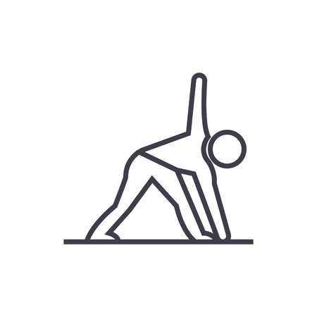 yoga man vector line icon, sign, illustration on white background, editable strokes