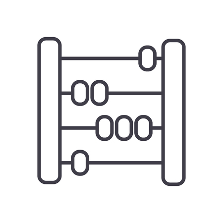 abacus,scores,counter vector line icon, sign, illustration on white background, editable strokes Stock Vector - 87221296