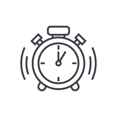 alarm clock vector line icon, sign, illustration on white background, editable strokes