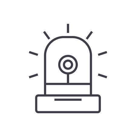 Alarme, lumière, icône de ligne vecteur industrie, signe, illustration sur fond blanc, traits modifiables Banque d'images - 87221301