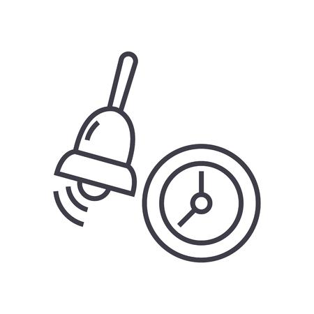 alarm,school bell vector line icon, sign, illustration on white background, editable strokes
