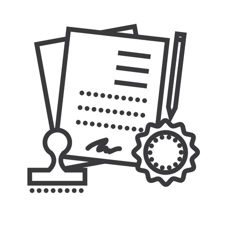 agreement, contract vector line icon, sign, illustration on white background, editable strokes Illustration
