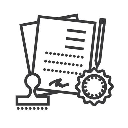 Vereinbarung, Vertrag Vektor Liniensymbol, Zeichen, Illustration auf weißem Hintergrund, editierbare Striche