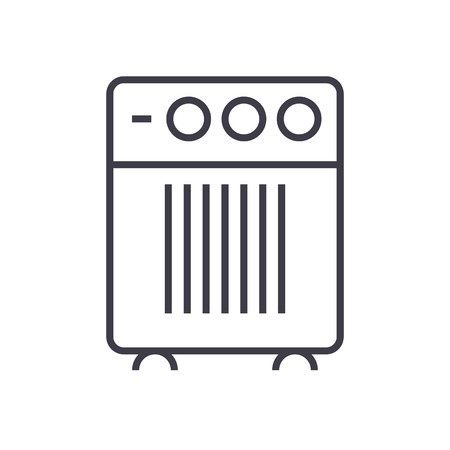 air cleaner, humidifier vector line icon, sign, illustration on white background, editable strokes Иллюстрация