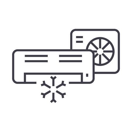 airco, split-systeem vector lijn pictogram, teken, illustratie op witte achtergrond, bewerkbare lijnen