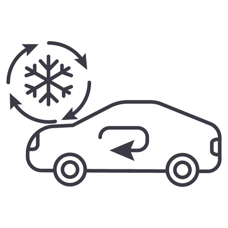 air conditioning, car service vector line icon, sign, illustration on white background, editable strokes  イラスト・ベクター素材